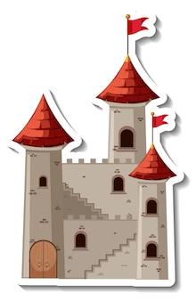 Adesivo de desenho animado de castelo de pedra e fortaleza