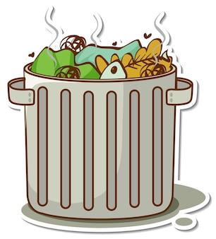 Adesivo de desenho animado de lixo na lata de lixo