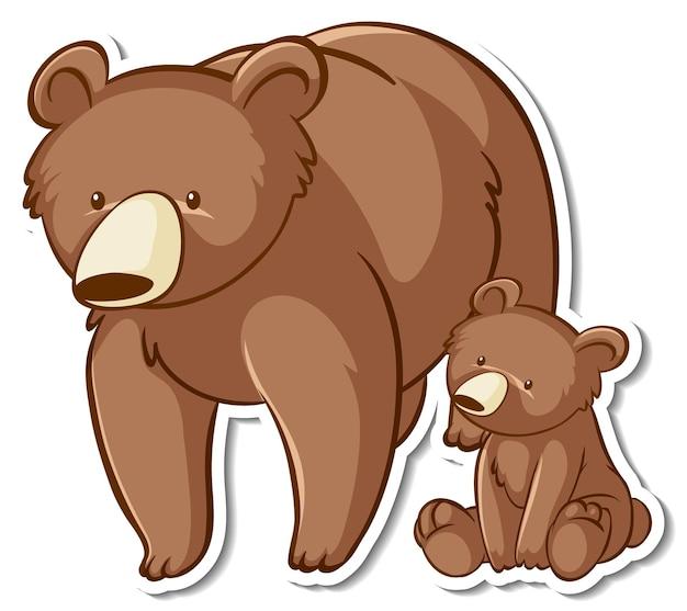 Adesivo de desenho animado de mãe de urso pardo e bebê