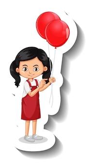 Adesivo de desenho animado de menina segurando muitos balões