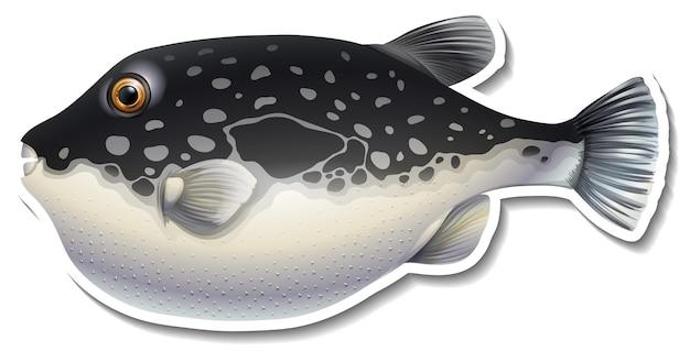 Adesivo de desenho animado de peixe-balão em fundo branco