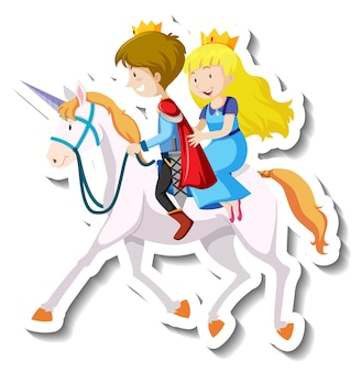 Adesivo de desenho animado de príncipe e princesa cavalgando juntos
