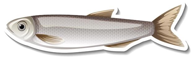 Adesivo de desenho animado de um peixe cinza