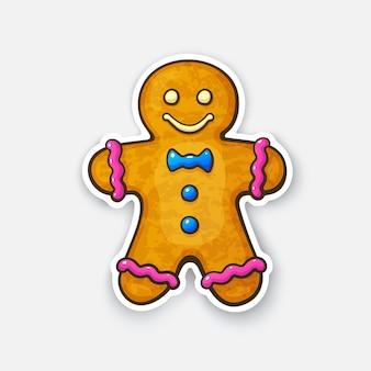 Adesivo de desenho animado do homem-biscoito de gengibre em estilo cômico com ilustração vetorial de contorno