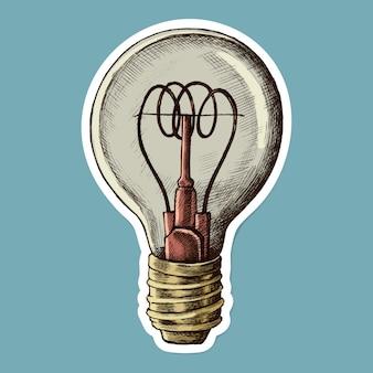 Adesivo de desenho animado vintage com lâmpada vetorial
