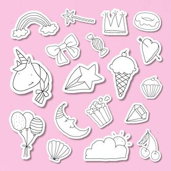 Adesivo de diário de estilo doodle fofo com uma borda branca definida em um vetor de fundo rosa