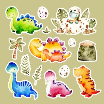 Adesivo de dinossauros fofos desenhados em aquarela