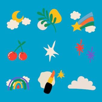 Adesivo de doodle feminino, coleção colorida de vetores de ilustração retro