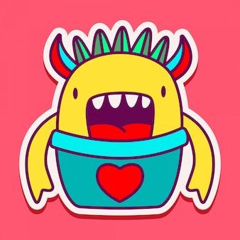 Adesivo de doodle monstro bonito