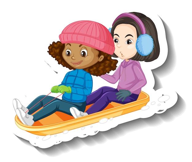 Adesivo de duas garotas sentadas em um trenó de neve com um personagem de desenho animado