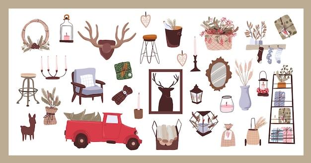 Adesivo de elementos de desenho animado de natal e decoração interna