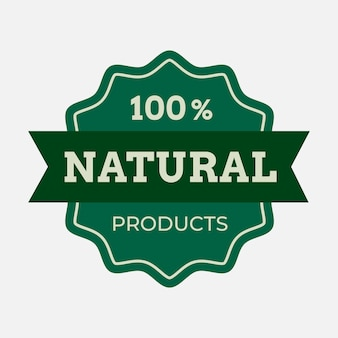 Adesivo de embalagem de alimentos de vetor de logotipo comercial de produto natural
