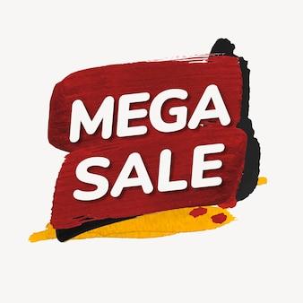 Adesivo de emblema de mega venda, textura de tinta, vetor de imagem de compras