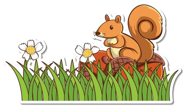 Adesivo de esquilo fofo em pé em um galho