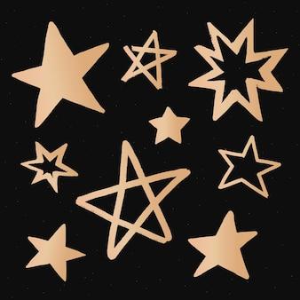 Adesivo de estrelas fofas com ilustração de doodle de galáxia dourada