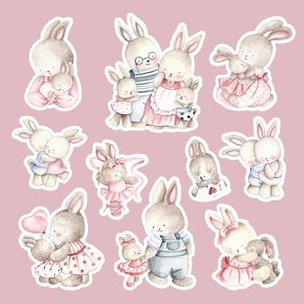 Adesivo de família de coelho feliz desenhado em aquarela