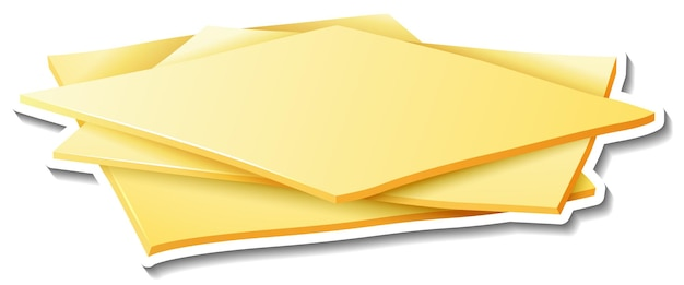 Adesivo de fatias de queijo no fundo branco