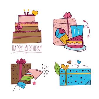 Adesivo de feliz aniversário desenhado à mão em estilo doodle