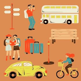 Adesivo de férias no cenário da cidade