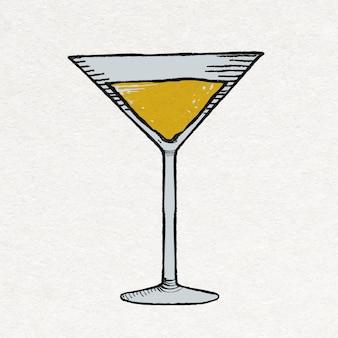 Adesivo de festa em copo de martini com bebidas em estilo vintage