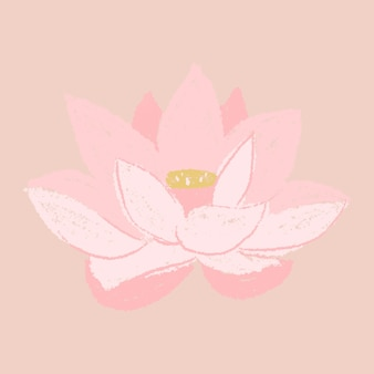 Adesivo de flor rosa de lótus desenhado à mão
