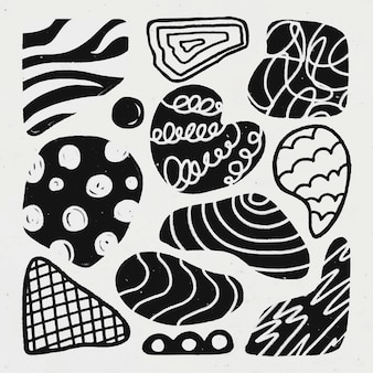 Adesivo de forma fofa, textura de giz abstrata em conjunto de vetores de design de doodle