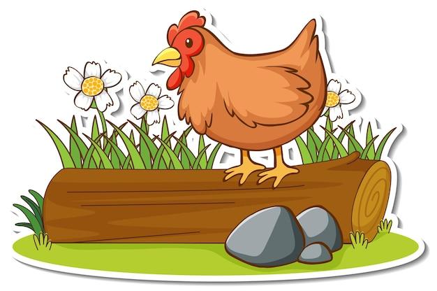 Adesivo de frango em pé em um tronco