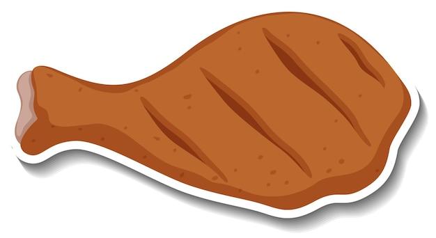 Adesivo de frango frito no fundo branco