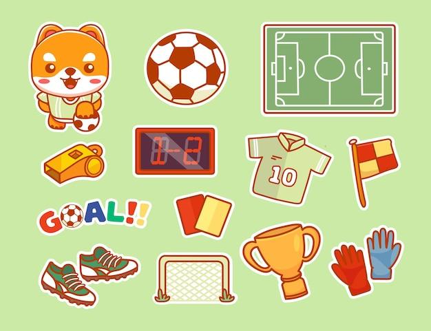 Adesivo de futebol de vetor definido com personagem de cachorro bonito. todos os elementos são isolados. vetor de desenho animado kawaii