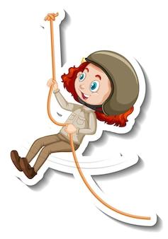 Adesivo de garota com roupa de safári pendurada em uma corda de personagem de desenho animado