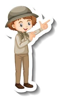 Adesivo de garota vestindo roupa de safári com personagem de desenho animado