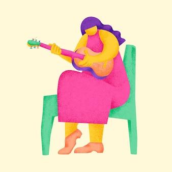 Adesivo de guitarrista em vetor ilustração colorida de músico
