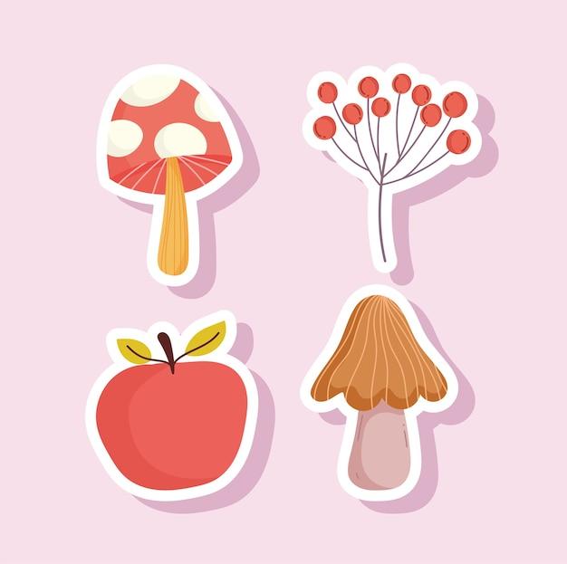 Adesivo de ícones de ramo de frutas e cogumelos maçã feliz