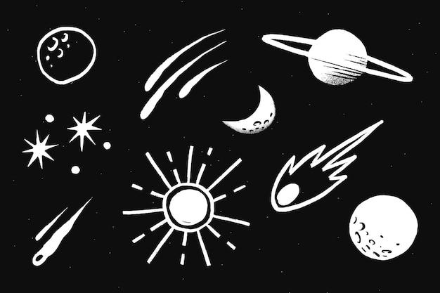 Adesivo de ilustração de doodle de galáxia branca bonito do sistema solar