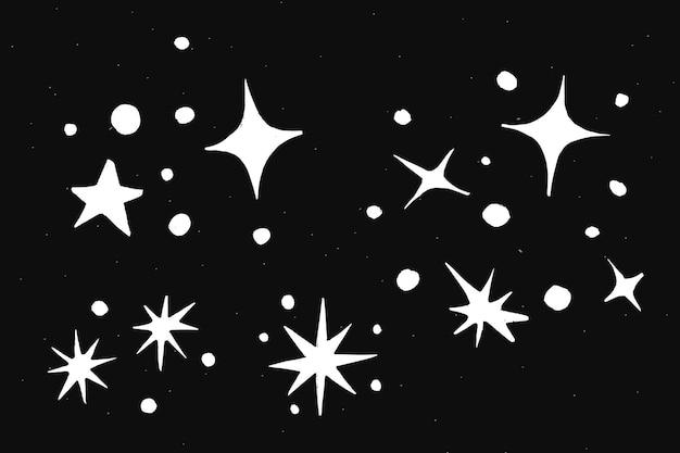 Adesivo de ilustração de doodle de galáxia branca com brilhos fofos