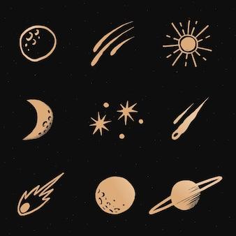 Adesivo de ilustração de doodle de galáxia dourada estrela interestelar