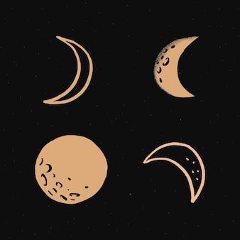 Adesivo de ilustração de doodle de lua fofa