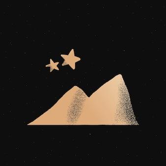 Adesivo de ilustração de doodle fofo dourado com estrelas da montanha