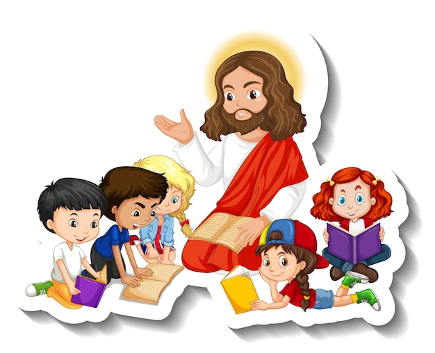Adesivo de jesus cristo com grupo de crianças em fundo branco