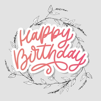 Adesivo de letras de feliz aniversário. cartão de felicitações