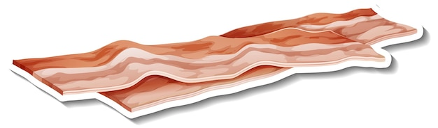 Adesivo de listras de bacon cru em fundo branco