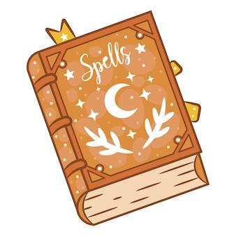 Adesivo de livro de feitiços de bruxaria feliz no dia das bruxas