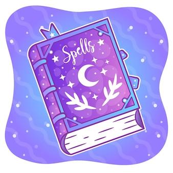 Adesivo de livro de feitiços para colorir de halloween
