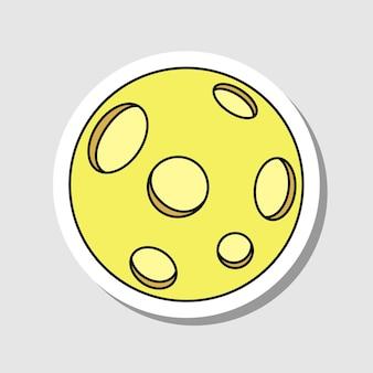 Adesivo de lua cheia de desenho vetorial lua mágica isolada