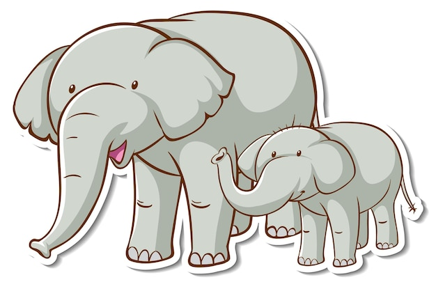 Adesivo de mãe e bebê elphant