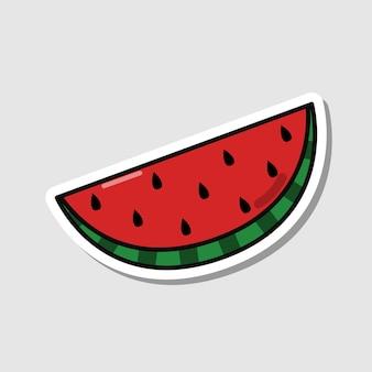 Adesivo de melancia de vetor em estilo cartoon baga isolada com sombra
