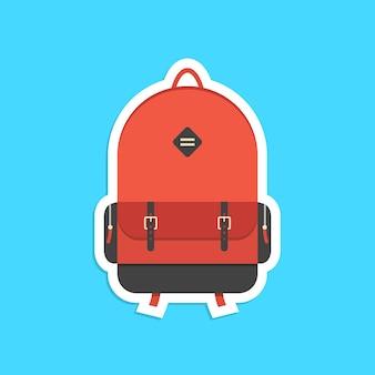 Adesivo de mochila vermelha com sombra. conceito de viagem ao redor do mundo, escolaridade, hipster, viagem e viagem. isolado sobre fundo azul. ilustração em vetor design de logotipo moderno na moda estilo simples
