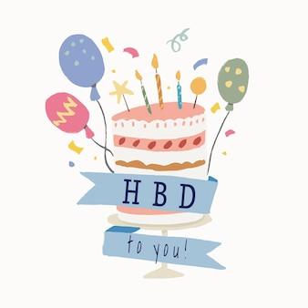 Adesivo de modelo de bolo de aniversário, banner fofo e gráfico vetorial