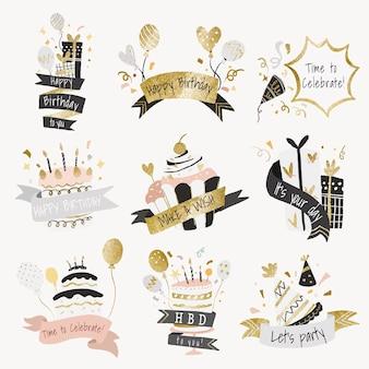 Adesivo de modelo de celebração, conjunto de vetores de festa de aniversário