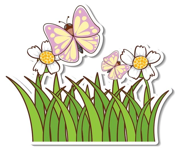 Adesivo de muitas borboletas voando acima do campo de grama Vetor grátis
